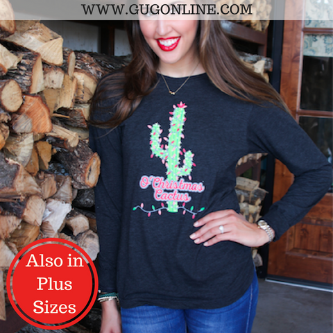 O' Christmas Cactus Long Sleeve Tee Shirt