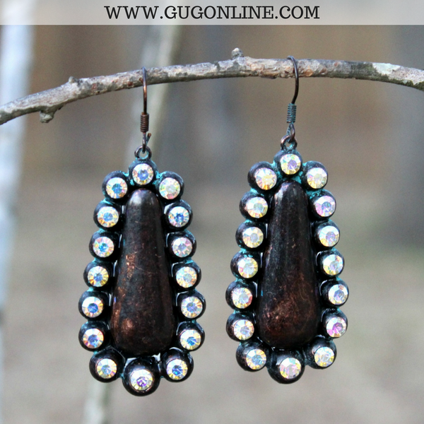 Teardrop Earrings with AB Crystals in Patina