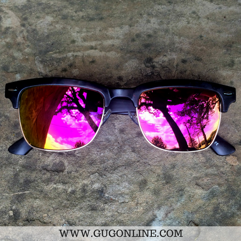 Tortise Clubmaster Sunglasses with Pink/Orange Flash Lenses