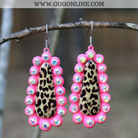 Leopard Teardrop Earrings with AB Crystals in Neon Pink