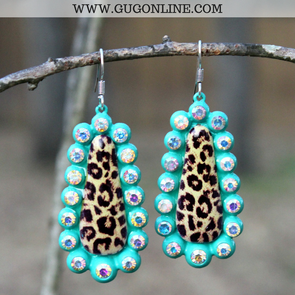 Leopard Teardrop Earrings with AB Crystals in Turquoise