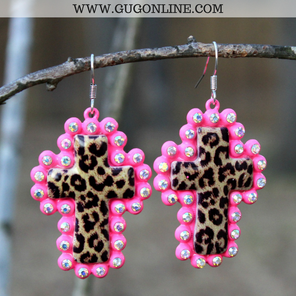 Leopard Print Cross Earrings with AB Crystals in Neon Pink