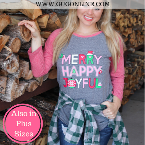 Merry Happy Joyful Christmas Baseball Tee Shirt