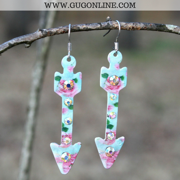 Arrow Earrings with AB Crystals in Floral