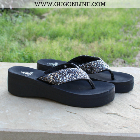 Salvang Crystal Flip Flops in Pewter