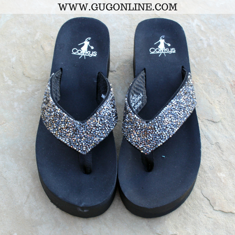 52d3cae8a Salvang Crystal Flip Flops in Pewter - Size 6 only!