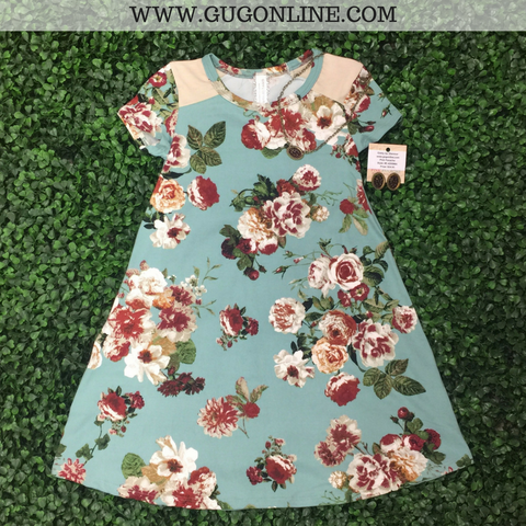 Children's: Wearable Art Floral Cap Sleeve Dress in Dusty Teal