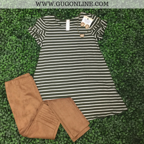 Children's: All In One Stripe Tee with Ruffled Sleeves in Olive Green