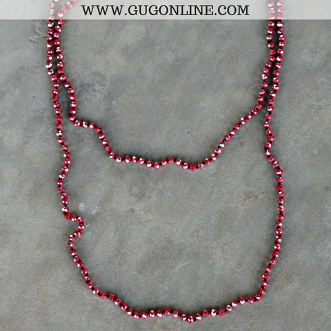 60 Inch Long Layering Crystal Strand Necklace in Red AB