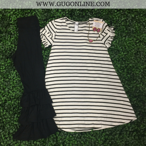 Children's: All In One Stripe Tee with Ruffled Sleeves in Black