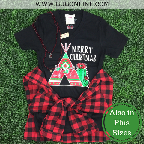 Merry Christmas Tee Pee & Cactus Short Sleeve Tee Shirt