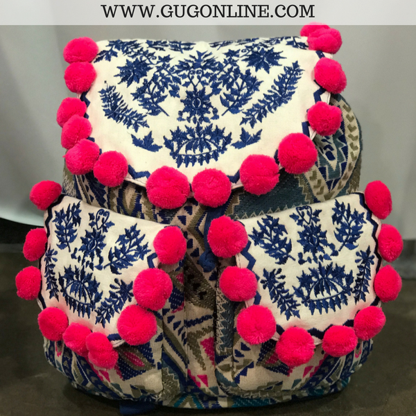The Mary Ann Backpack - Royal Blue Aztec with Hot Pink Pom Pom Trim