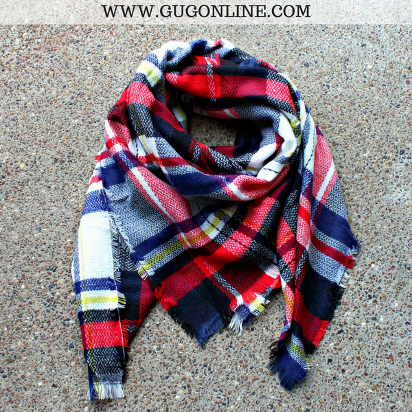 Navy, Red and Black Plaid Blanket Scarf