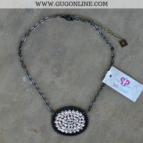Pink Panache Black Matte Oval Necklace with Solid AB Crystals