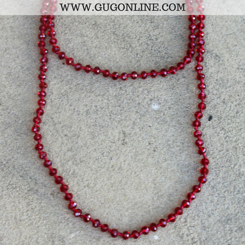 Pink Panache 62 Inch Crystal Layering Necklace in Maroon