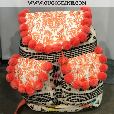 The Nancy Backpack - Colorful Aztec with Coral Pom Pom Trim