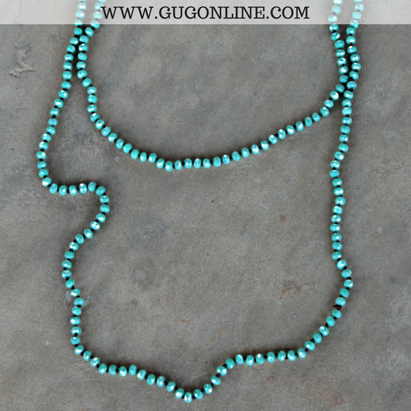 60 Inch Long Layering Crystal Strand Necklace in Seafoam Turquoise
