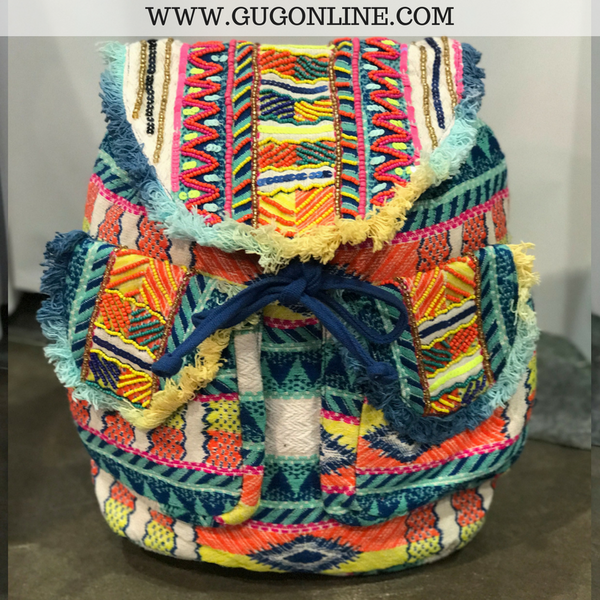 The Samantha Backpack - Colorful Aztec with Beading