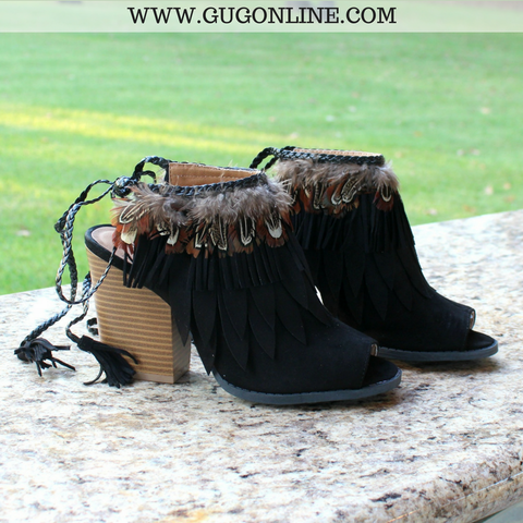 Flying High Feather Heels in Black