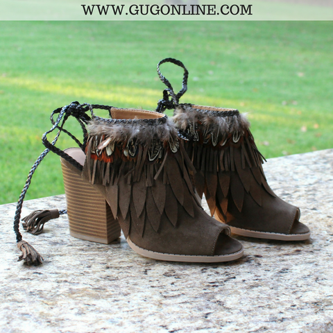 Flying High Feather Heels in Olive - Sizes 5.5, 6, 8 and 8.5 left