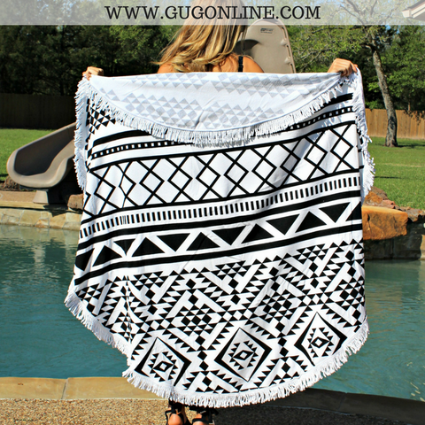 Splish Splash Round Beach Towel - Black and White Aztec
