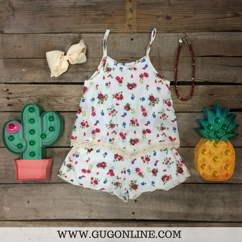 Childrens: Wild At Heart Floral Romper with Crochet Trim