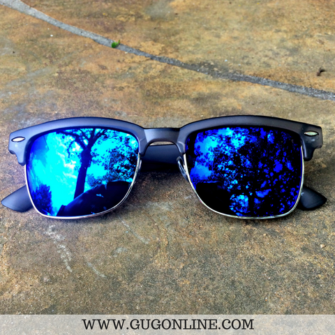 Black Clubmaster Sunglasses with Blue  Lenses