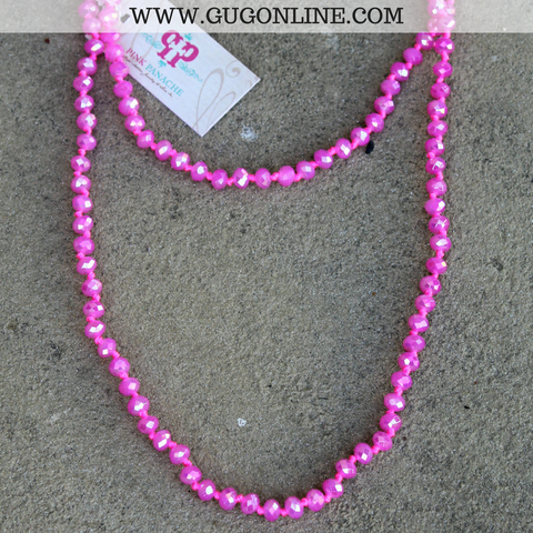 Pink Panache 62 Inch Crystal Layering Necklace in Hot Pink