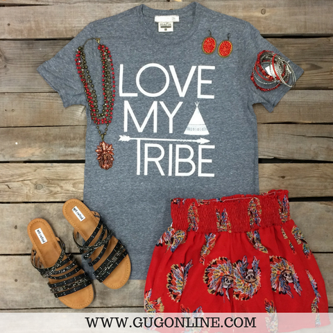 Love My Tribe Short Sleeve Tee Shirt in Heather Grey