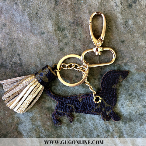 Authentic Upcycled and Recycled Louis Vuitton Monogram Canvas Dachshund Charm with Snap On and Key Fob and Mini Tassel
