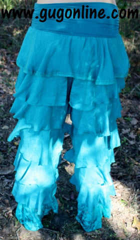 Walking in Style Turquoise Ruffle Pants