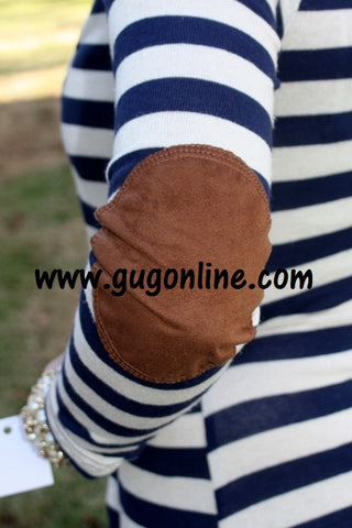 Watch Her Go Brown Elbow Patch Sweater in Navy