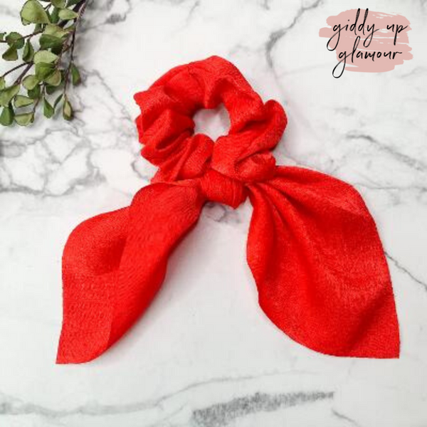 Double Dare Solid Hair Scrunchie with Tie in Red
