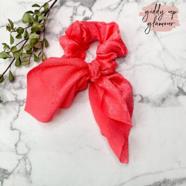 Double Dare Solid Hair Scrunchie with Tie in Coral