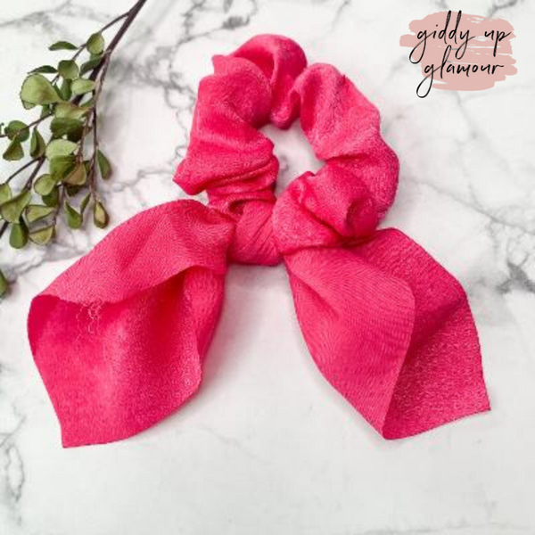 Double Dare Solid Hair Scrunchie with Tie in Fuchsia