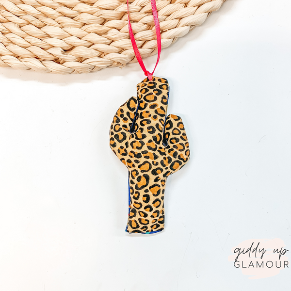 Leopard Print Cactus Shaped Freshie in Leather and Lace