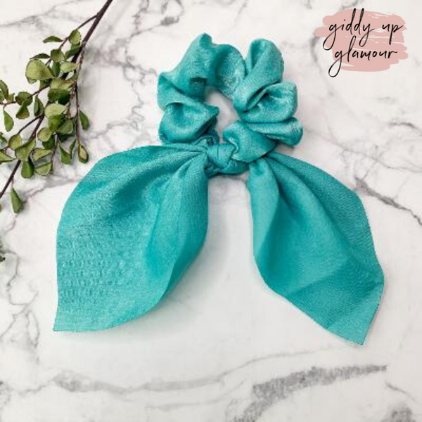 Double Dare Solid Hair Scrunchie with Tie in Turquoise