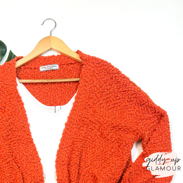 Feel At Home Soft Popcorn Cardigan in Orange