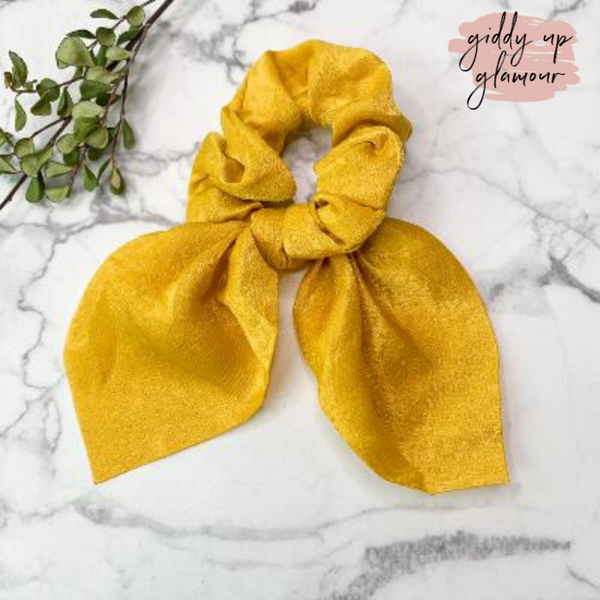 Double Dare Solid Hair Scrunchie with Tie in Mustard Yellow