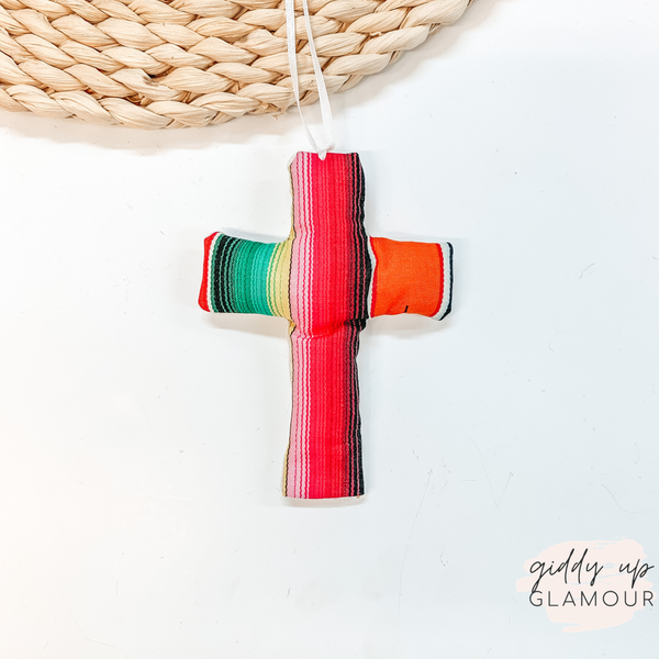Serape Print Cross Shaped Freshie in Leather and Lace