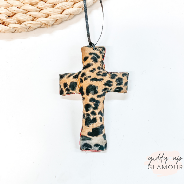 Leopard Print Cross Shaped Freshie in Leather and Lace