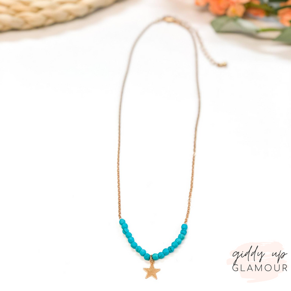 Beaded Necklace with Gold Star Detail in Turquoise