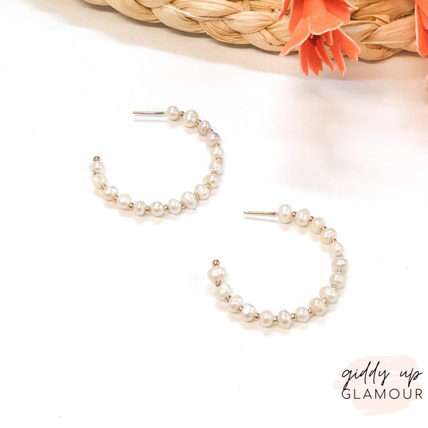 Small Pearl Hoop Earrings with Gold Spacers