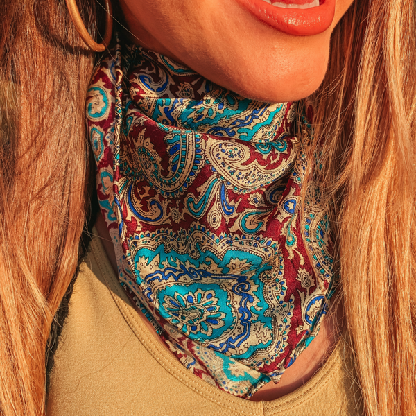Mini Paisley Wild Rag in Maroon and Turquoise