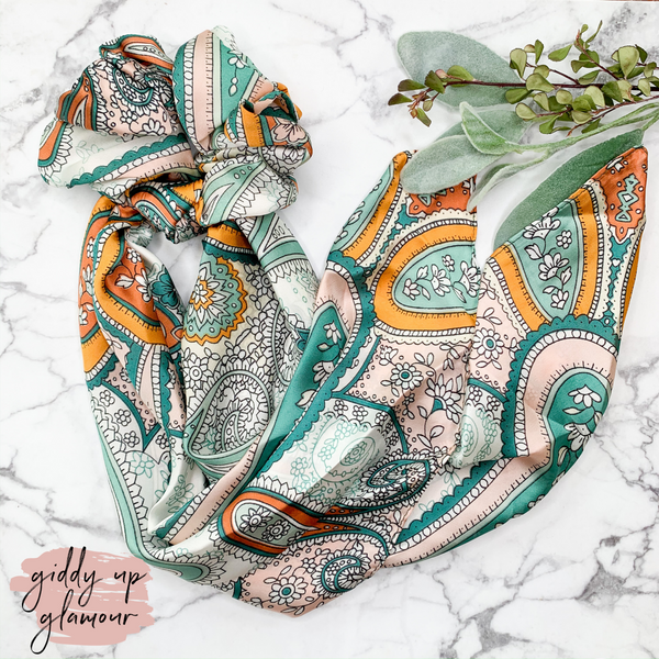 All the Details Paisley Floral Hair Scrunchie with Scarf in Teal and Orange