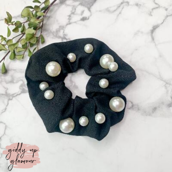 Uptown Flare Large Pearl Embroidered Hair Scrunchie in Black