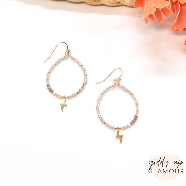 Crystal Beaded Hoop Earrings with Gold Lightning Bolts in Neutral