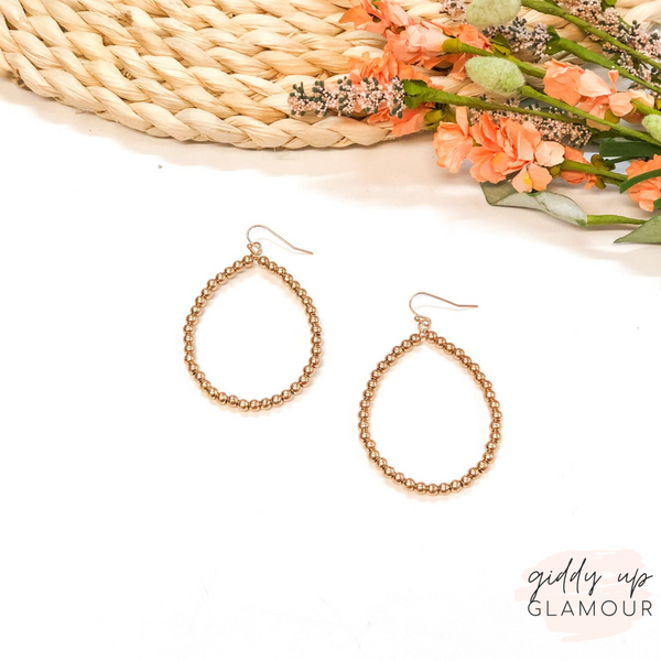 Beaded Teardrop Hoop Earrings in Gold