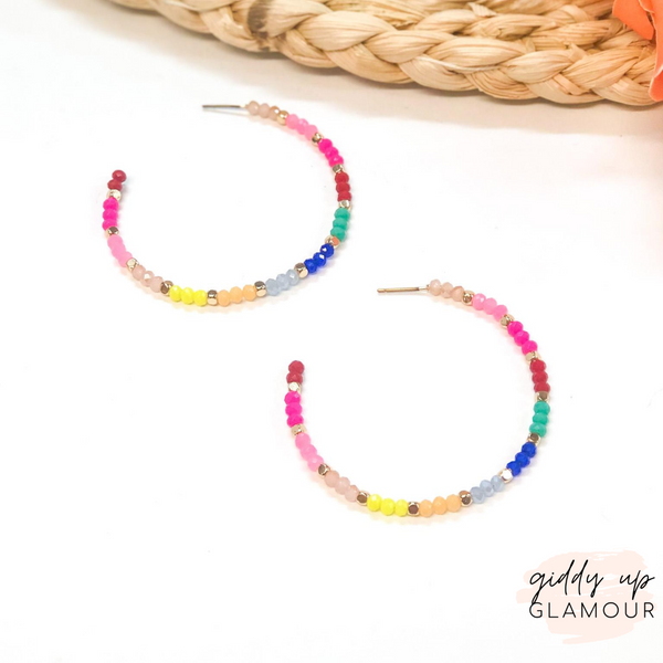 Large Crystal Beaded Hoop Earrings in Multi