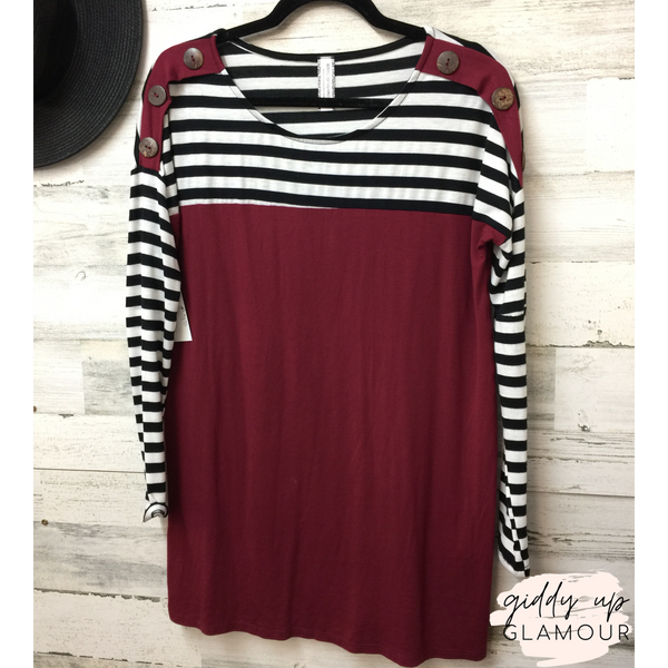 SECONDS | MEDIUM  | Maroon Dolman Top with Stripped Accents and Buttons